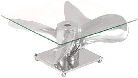 Beperk Korting vidaXL Salontafel Aluminium Gehard Glas Zilverkleurig Woonkamertafel Tafel GbgD9LX