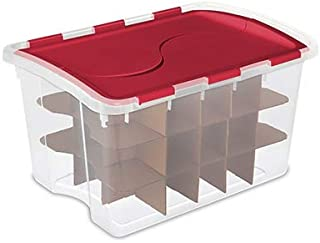 product image for Sterilite 19096606 48 Qt Hinged Ornament Box, 6 Pack, Clear Base, red lid