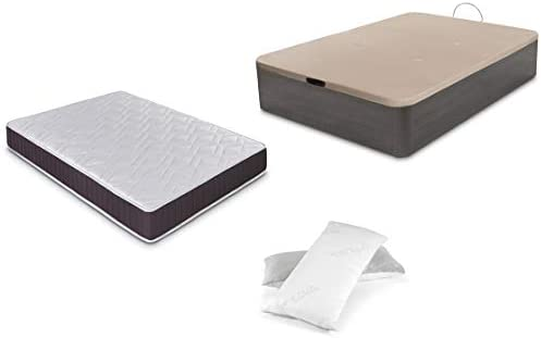 Dormidán - Pack de canapé abatible de Gran Capacidad + colchón viscoelástico + Almohada visco Copos de Regalo (90_x_190_cm, Ceniza)