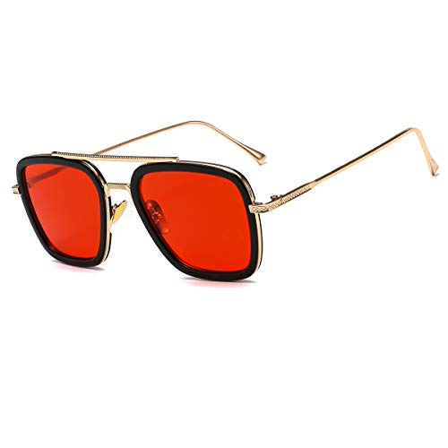 Vintage Aviator Square Sunglasses for Men Women Gold Frame Glasses Retro Brand Designer Classic Tony Stark ()