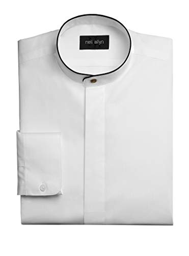 Neil Allyn Men's Dress Shirt Banded Collar with Black Piping-XL