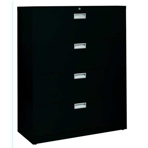 Sandusky Lee LF6A424-09 600 Series 4 Drawer Lateral File Cabinet, 19.25'' Depth x 53.25'' Height x 42'' Width, Black by Sandusky