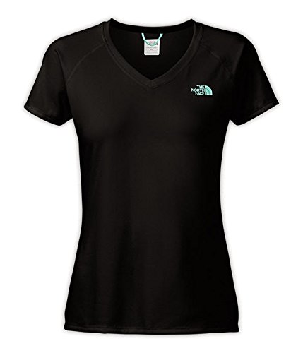 The North Face Women's Reaxion AMP V-Neck T-Shirt (X-Small, TNF Black/Mint Blue)