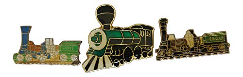 3-Piece Variety Steam Engine Train Lapel Pin Hat Pin & Tie Tack Set with Clutch Back by Novel Merk