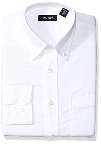 Nautica Men's Classic Fit Button Down Collar Dress Shirt, White 16.5 32/33