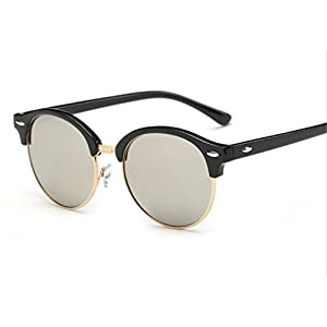 New sunglasses Europe and the United States the trend of men and women travel / beach / outdoor / fishing sun glasses round color film retro sunglasses ( Color : 3 )