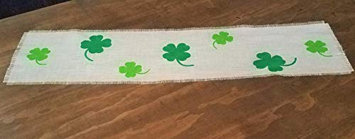 St Patricks Day Table Runner With Green Four Leaf Clovers 12 Inches Wide 32, 36, 48, 54, 60, 72, 84
