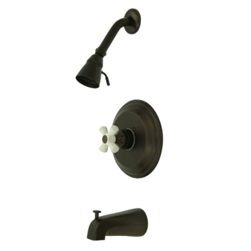 Black Fine Porcelain Knob - Kingston Brass KB3635PX Restoration Tub and Shower Faucet with Porcelain Cross Handle, Oil Rubbed Bronze