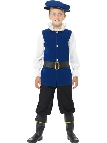 Childs Tudor Costumes (Smiffy's Children's Tudor Boy Costume, Top, Trousers with Boot Covers, Belt and Hat, Ages 7-9, Size: Medium, Color: Royal Blue, 41092)