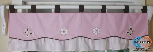 (GEENNY Window Valance, Boutique Pink/Brown Butterfly)
