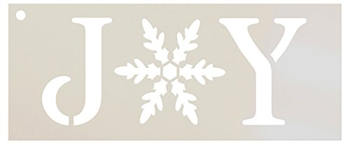 Joy Stencil by StudioR12 | Vintage Serif Snowflake Word Art - Reusable Mylar Template | Painting, Chalk, Mixed Media | Use for Journaling, DIY Home Decor - STCL1262 ... SELECT SIZE (8.5 x 3.5)