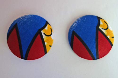 African Ankara Fabric Extra Large Button Earrings with Gift Box.
