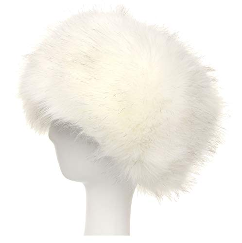 La Carrie Women's Faux Fur Hat for Winter with Stretch Cossack Russion Style White Warm -