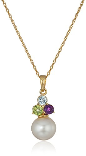 18k Yellow Gold Plated Sterling Silver White Freshwater Cultured Pearl and Genuine Multi Gemstone Pendant Necklace, 18