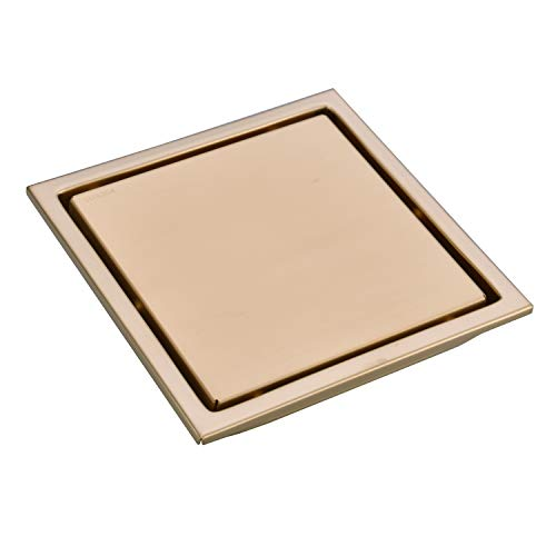 TRUSTMI 6 Inch Square Invisible Bathroom Shower Floor Drain with Removable Tile Insert Grate Cover, Brushed Gold, SUS 304 Stainless Steel ()