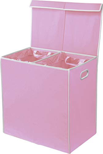 Simple Houseware Double Bin Laundry Basket with Lid, Pink