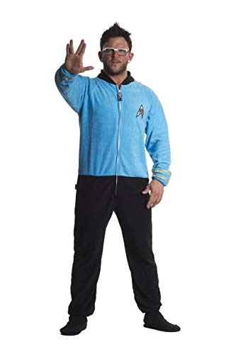 Jumpin Jammerz Star Trek Science Blue Footed Onesie Adult Pajamas (Large) -