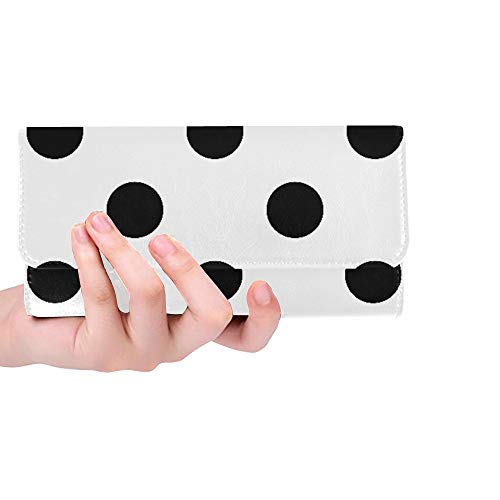 Sox Black Tri Fold Wallet - Unique Custom Black And White Seamless Polka Dot Pattern Vector Women Trifold Wallet Long Purse Credit Card Holder Case Handbag