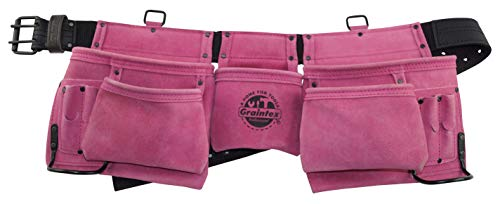 Graintex DS2015 11 Pocket Work Apron Pink Suede Leather ()