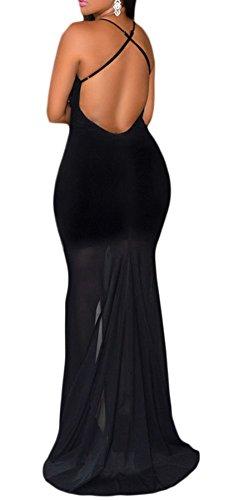Bigood Robe Longue Femme Col V Profond Dos Nu Cérémonie Soirée