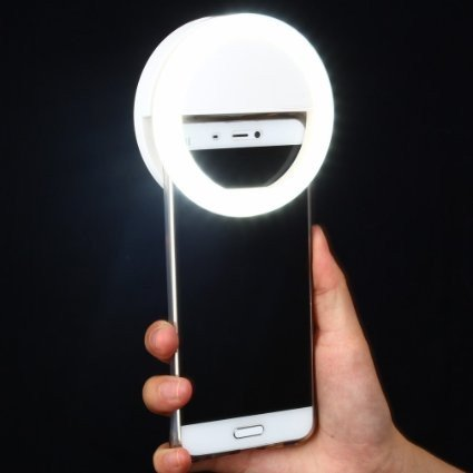 Rechargeable Selfie Light Ring by Arbitron Global- for iPhone 7 plus/ 6 plus/6s/6/5s/5/4s/4, Samsung Galaxy S7 Edge/S7/ S6 Edge/S6/S5/S4/S3, Galaxy Note 5/4/3/2, and Other Smart Phones