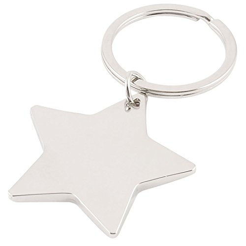 SODIAL(R) Five Pointed Star Shaped Pendant Keychain Silver Tone (Shaped Keychain Star)