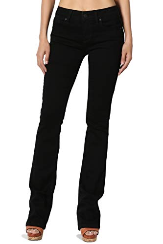 TheMogan Women's Soft & Stretch Denim Mid Rise Slimming Bootcut Jeans Black 9