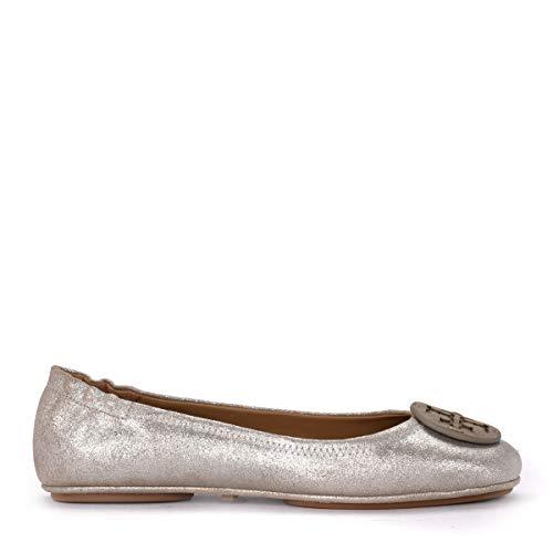 (Tory Burch Women's Minnie Travel Beige Metal Suede Flat Shoe 41()-11(US) Beige)