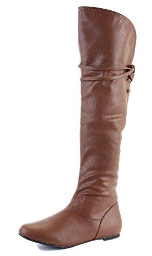 Womens Winter Biker Pirate Style Low Flat Heel Calf Leg Knee Boots Size 3-8 Style 34 - Tan NoyNrDfzL