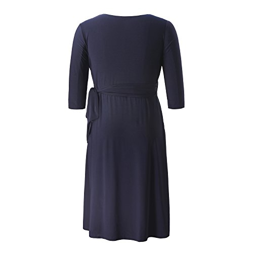 Party Navy Stretch Dress Sweetheart Size Chicwe Solid Casual Length Plus Sky Dark Dress Knee Cocktail Women's Wrap aII1qPnw