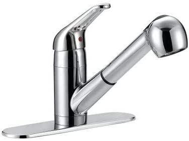 Aqua Plumb 1558023 Single Handle Pull Out Traditional Kitchen Faucet with Dual Spray Satin Nickel