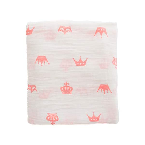 Premium Muslin Swaddle Blanket Girl Pink Baby, 100% Muslin Cotton, Extra soft, Pink Crowns Princess Unique Design, Large 47″ x 47″, Swaddle wrap, Ideal Newborn Baby Shower Gift