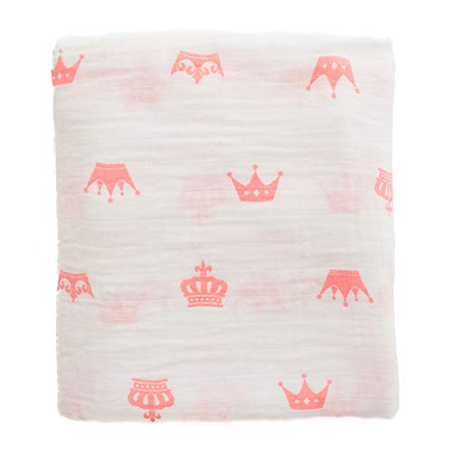 Premium Muslin Swaddle Blanket Girl Pink Baby, 100% Muslin Cotton, Extra soft, Pink Crowns Princess Unique Design, Large 47