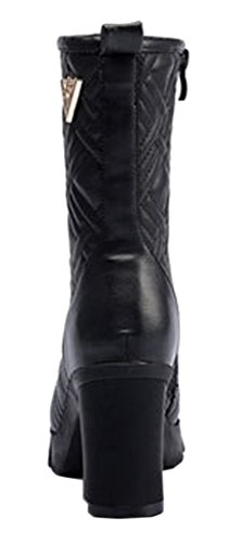 Kiwii Black Friday Deals Women's Mid-Long Boots Black High Heels Shoes(6 B(M) US, Black)