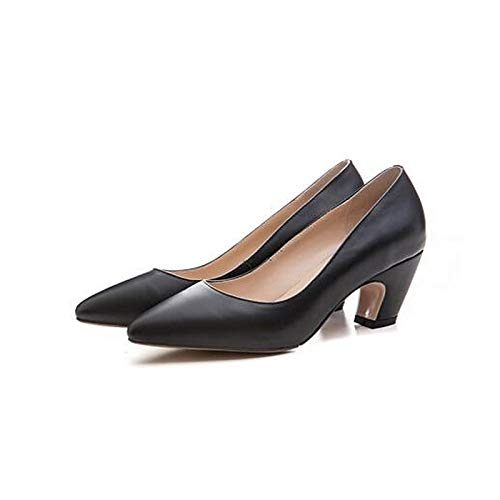 Chunky Spring Women's Black Heel Brown Shoes Comfort ZHZNVX Nappa Leather Black Heels T4zF0zcA