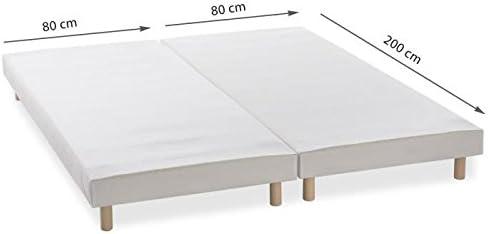 Litexe - Somier doble tapizado con 8 patas, (dimensiones totales: 160 x 200 cm; individual: 80 x 200 cm)