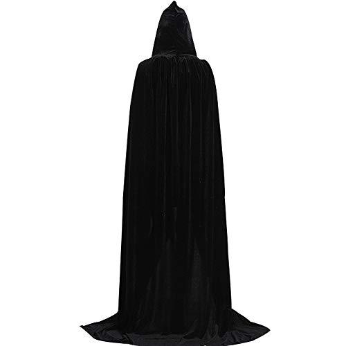 Adult's Halloween Cape Costume, Deluxe Velvet Cloak with Hood, Halloween Robe for Men and Women, Full Length, Black -