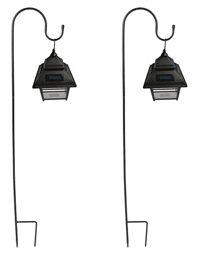Set of 2 Small Hanging Solar Lanterns with Shepherd's Hooks by Winsome House