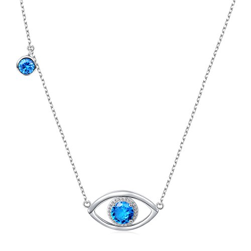 """Valentine's Gift 925 Sterling Silver Good Luck Blue Cubic Zirconia Hamsa Evil Eye Charm Necklace For Women, 18"""""""