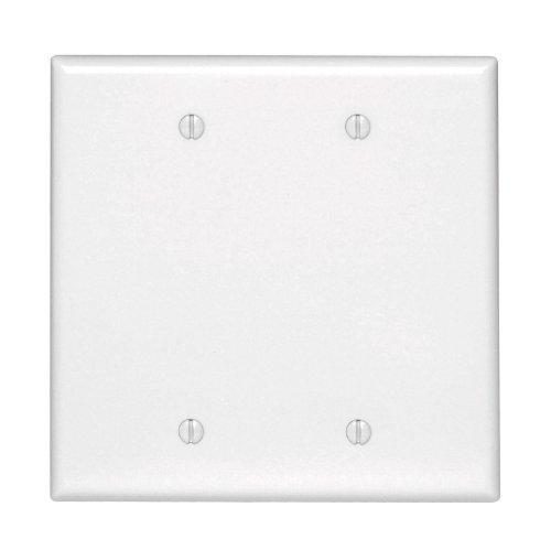 Leviton 80525-W 2-Gang No Device Blank Wallplate, Midway Size, White ()