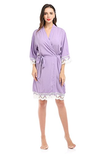 Lace Night Light (YueQiW Women's Soft Cotton Robe For Bride And Bridemaid With Floral Lace Nightwear(Large,Light-purple))