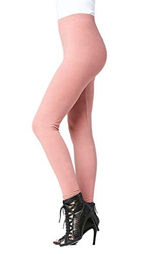 Conceited Super Soft High Waisted Women's Leggings - Opaque Full Ankle Length - Dusty Pink - Plus Size (12-22) ()