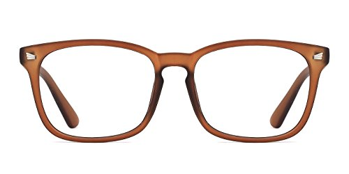 TIJN Unisex Non-Prescription Eyeglasses Glasses Clear Lens Square Eyewear Vintage Brown Frame