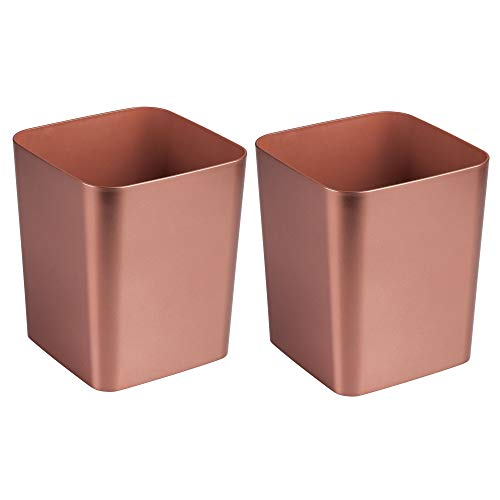 mDesign Square Shatter-Resistant Plastic Small Trash Can Wastebasket, Garbage Container Bin for Bathrooms, Powder Rooms, Kitchens, Home Offices - Pack of 2, Rose Gold Finish by mDesign