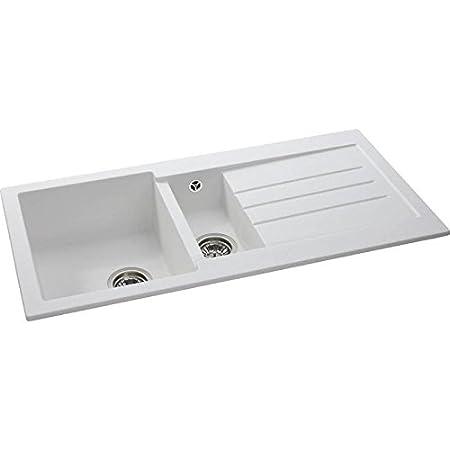 Abode XCITE 1.5 Bowl WHITE Granite Kitchen Sink - AW3121: Amazon.co ...
