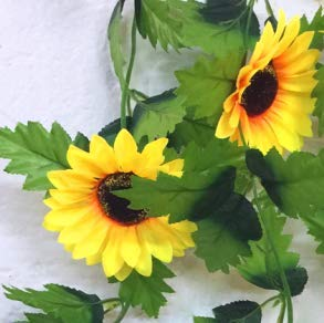 240Cm Fake Silk Sunflower Ivy Vine Artificial Flowers With Green Leaves Hanging Garland Garden Fences Home Wedding Decoration Sunflower ()
