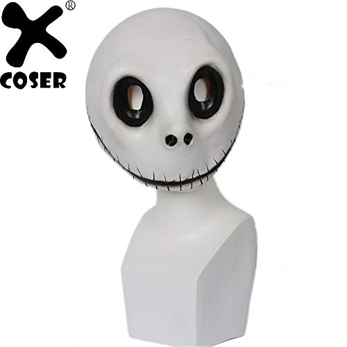 CHITOP The Nightmare Before Christmas- Jack Skellington Mask Movie Cosplay Props White Latex Mischievous Full Head Face Masks ()]()