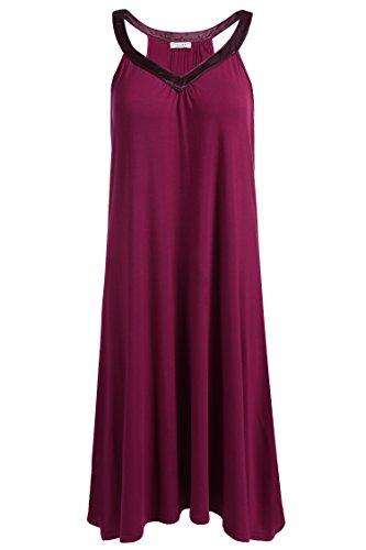 - Ekouaer Nightgown Womens Sleeveless Sleepwear V Neck Racerback Sleep Dress S-XXL Red