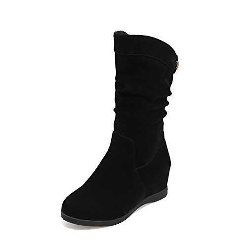 in niedrige Feste Runde Stiefel Damen Zehe Absätze Schwarz geschlossene AgooLar nxA8wFvUqx
