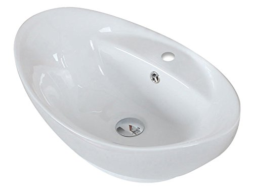 23-in D Above Counter Oval Vessel In White Color For Single Hole Faucet IMG Imports Inc W x 15-in AI-4-1302